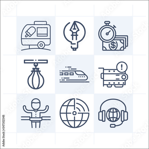Simple set of 9 icons related to accelerate Canvas Print