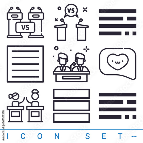 Photo 9 pack of arguments lineal web icons set