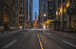 Road Leading Towards Old City Hall Clock Tower At Dusk