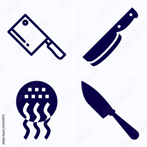 Fotografie, Obraz Simple set of 4 icons related to butcher
