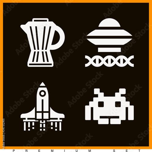 Set of 4 invade filled icons Fototapeta