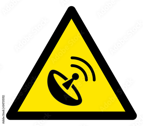 Photo Vector space antenna flat warning sign