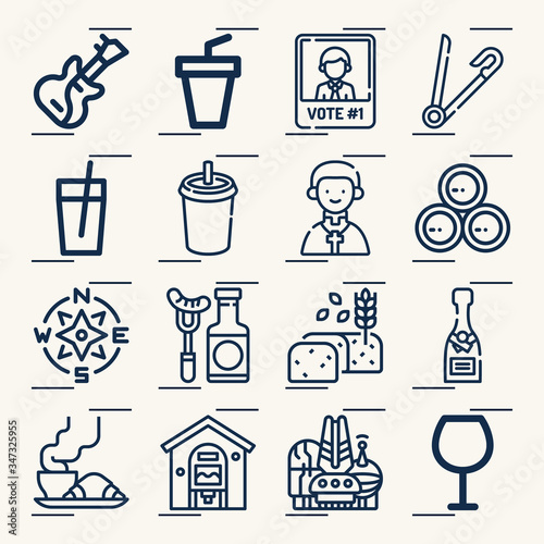 Photo Simple set of ate related lineal icons.