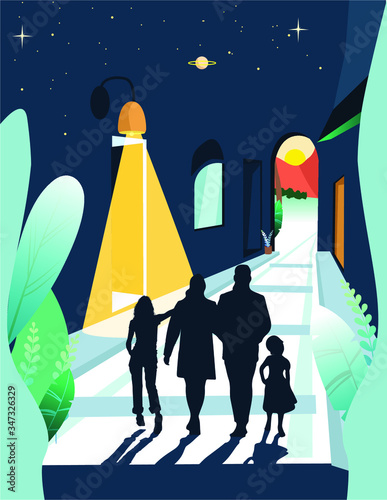 walking in dreams with my family. Get other way and new life. Good life to new horizont. Vector illustration Wall mural