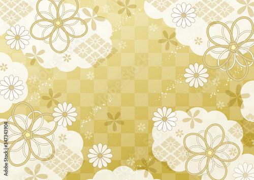 雲とリボンと市松の和柄金色