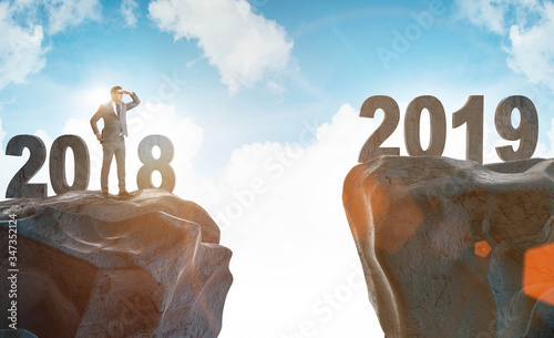 Businessman anticipating year of the 2019 Canvas Print
