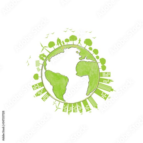 Ecology concept with green city for world environment day and sustainable development concept, vector illustration