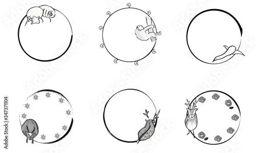 Leinwand Poster 手描きのかわいい動物の和風円形フレーム