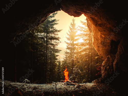 Campfire Against Forest Seen From Cave During Winter Fototapet