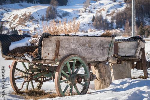 Fototapeta Abandoned Cart On Snowfield