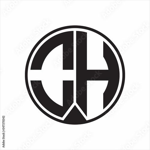 Fotografie, Obraz OH Logo monogram circle with piece ribbon style on white background