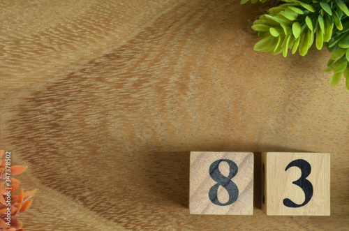 Tela Number 83, Rating, Award, Design with number cube colorful stone in natural concept