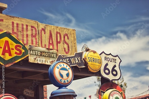 High Section Of Store At Route 66 Canvas Print