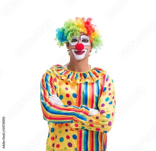 Obraz na plátně Funny clown isolated on white background