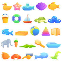 Bath Toys Icons Set. Cartoon S...