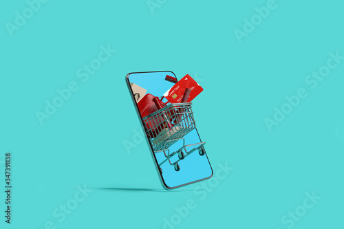 Fototapeta Online shopping concept on smartphone on blue background. 3d rendering obraz