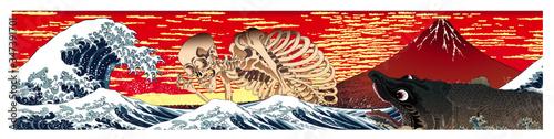 Photo 神奈川沖浪裏&相馬の古内裏の骸骨&鰐鮫  ロングバージョン