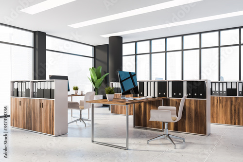 Fotografiet Panoramic black and wooden office with cubicles