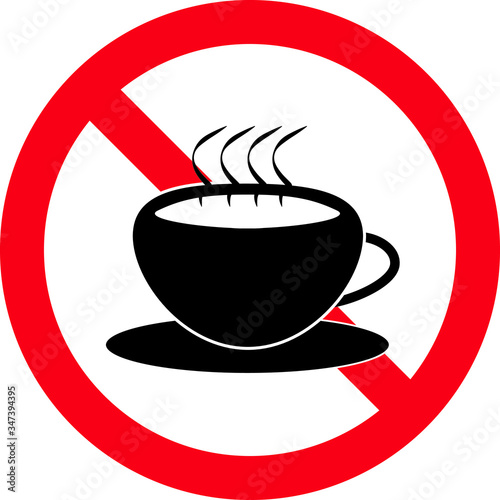 Obraz na plátně Coffee or tea ban sign, symbol, Vector illustration