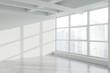 Leinwanddruck Bild - Blank wall in empty white industrial office corner