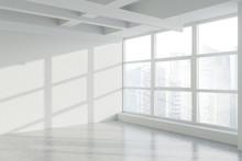 Blank Wall In Empty White Indu...