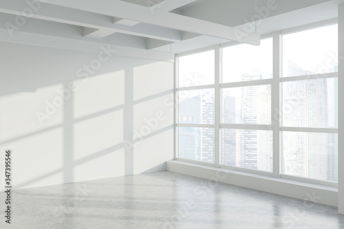 Leinwand Poster Blank wall in empty white industrial office corner