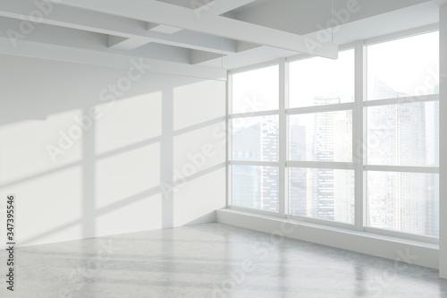 Obraz Blank wall in empty white industrial office corner - fototapety do salonu