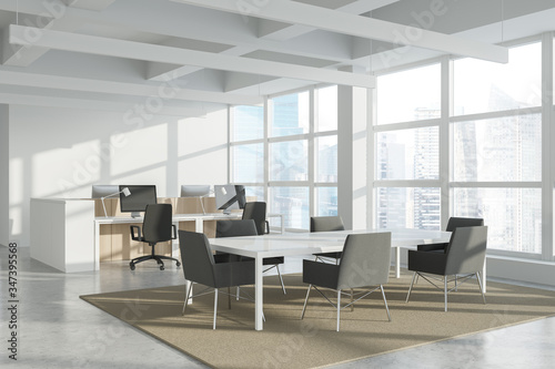 White and wood open space and meeting room corner