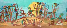 Ancient Mayan. Mural Painting....