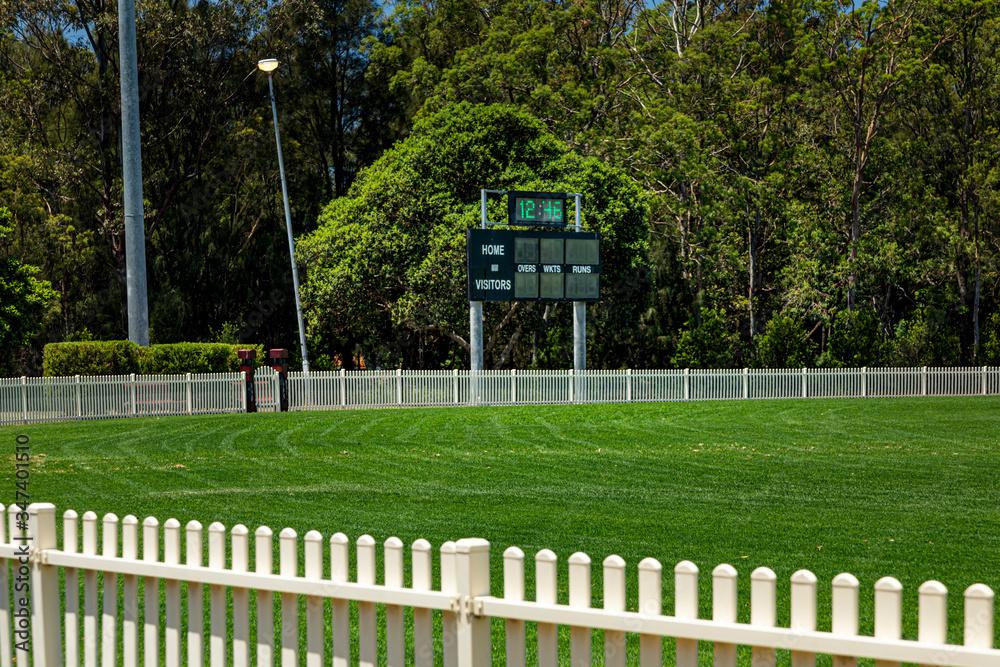 Cricket Score Board and grass field - obrazy, fototapety, plakaty