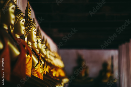 Selective focus of Aligned Buddha statues in dark tone at Wat Phutthaisawan, Ayuthaya, Thailand Canvas Print