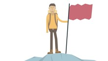 A Man With A Flag On Top Of A Mountain. Achievement Animation, Alpha Channel Enabled