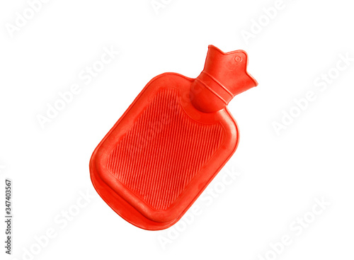 Orange rubber heat water bag or hot water bag isolated on white background with clipping path Wallpaper Mural