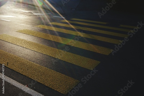 Cuadros en Lienzo High Angle View Of Zebra Crossing On Street