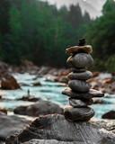 Fototapeta Kamienie - stack of stones in the mountains
