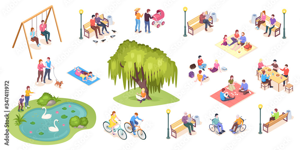 Fototapeta People in park leisure and outdoor activity, family picnic and summer rest, vector isometric isolated elements. City park isometry icons of people sitting on bench, playing on lawn and reading book