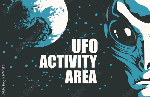 Платно Vector banner on the theme of alien invasion with the words UFO activity area