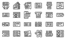 Bus Ticketing Icons Set. Outline Set Of Bus Ticketing Vector Icons For Web Design Isolated On White Background