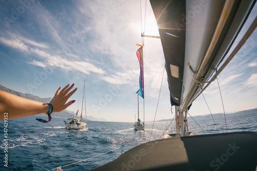 Obraz na plátně Sailing on adriatic sea Korcula Makarska Korcula Croatia