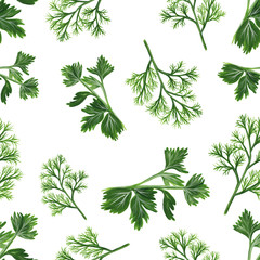 Fototapeta Przyprawy seamless pattern with parsley and dill isolated on a white background. Hand-drawn illustration in realistic style. Bunches of green dill and parsley.