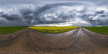 Full Spherical Seamless Hdri Panorama 360 Degrees Angle View On Wet No Traffic Asphalt Road Near Rapeseed Canola Fields With Black Sky After Storm In Equirectangular Projection, VR AR Content
