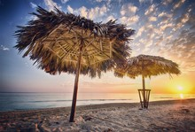 Thatched Roofs At Sandy Beach ...