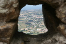 Landscape Through Hole In Ston...
