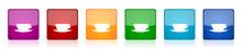 Cofeee Icon Set, Colorful Squa...