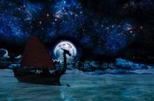 Viking Warship At Moonlight