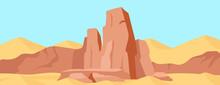 Canyon Flat Color Vector Illus...
