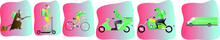 Online Concept Delivery Service, Online Order Tracking, Home And Office Delivery. Truck, Scooter, Bicycle, Scooter, Motorcycle, Witch Courier, Courier In A Respiratory Mask. Vector Illustration Green