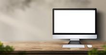 Desktop Computer On Wood Table...