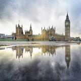 Fototapeta Big Ben - Reflection Of Big Ben In Puddle Against Sky