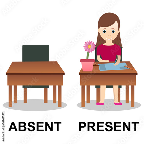 Photo Present and Absent vector illustration design